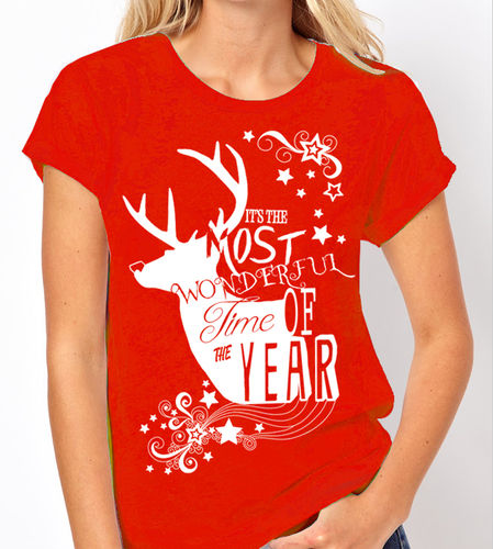 "Christmas ""Most Wonderful Time of the Year"" - 3 Colour Variations - Ladies Tee Shirt"