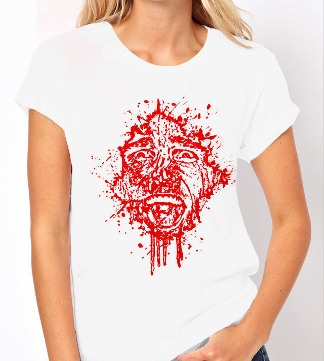 "Classic Movie ""American Psycho"" - Ladies White Tee Shirt with Red Print"