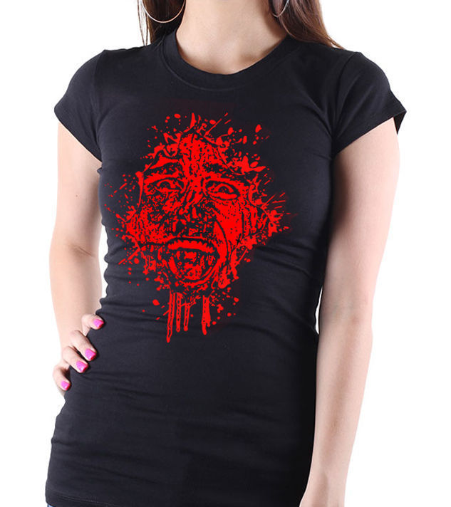 "Classic Movie ""American Psycho"" - Ladies Black Tee Shirt with Red Print"