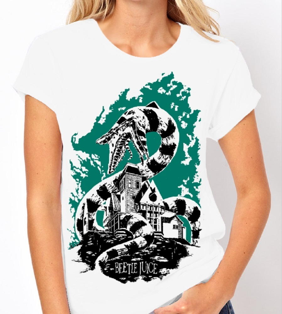 Beetlejuice (Tim Burton) - Ladies White Tee Shirt