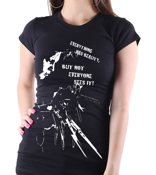 Edward Scissorhands  - Ladies Black Tee Shirt