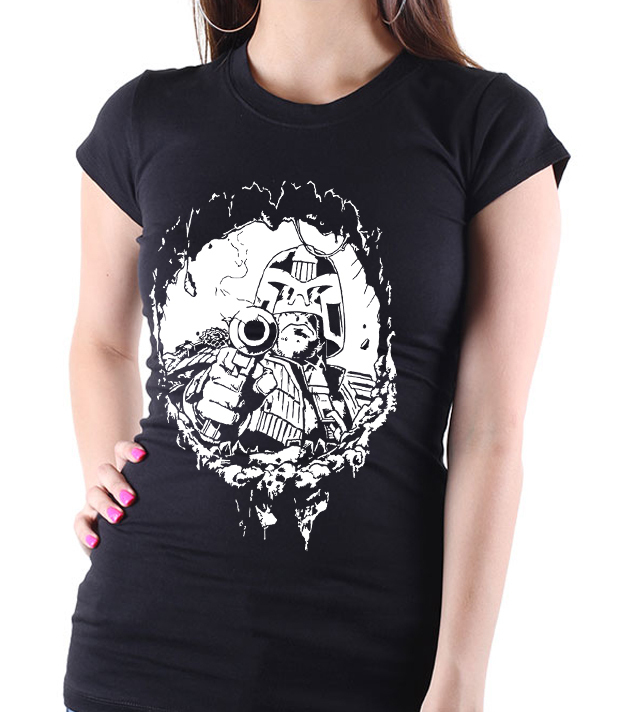 "Judge Dredd ""Bullet Hole"" - Ladies Black Tee Shirt"