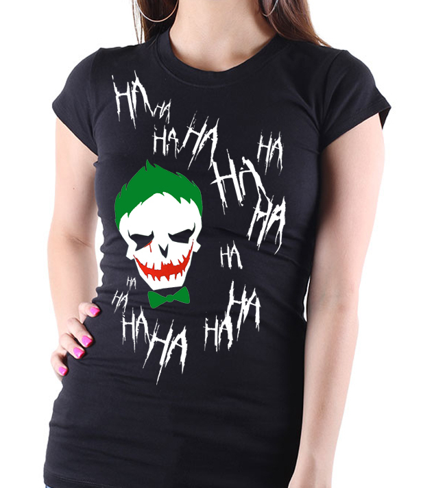 Suicide Squad Joker - Ladies Black Tee Shirt