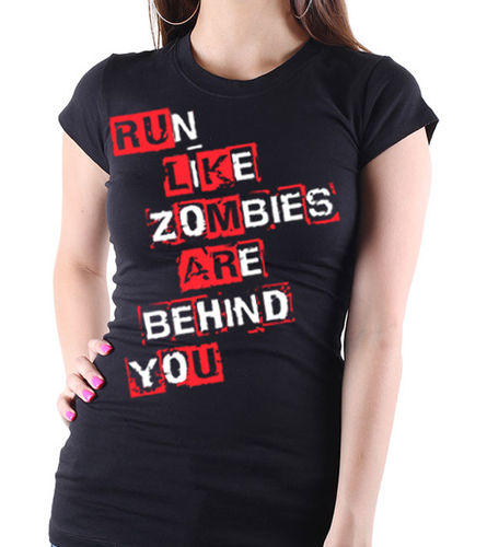 "AMC's The Walking Dead ""Run Like Zombies are Behind You"" - Ladies Black Tee Shirt"