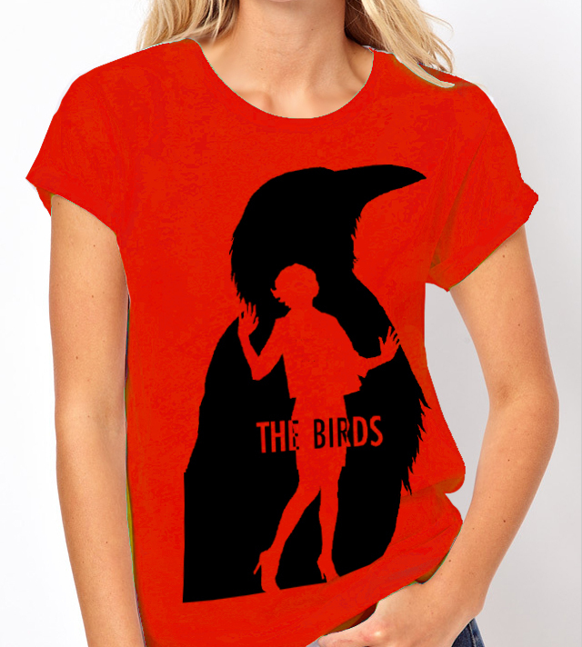 "Alfred Hitchcocks ""The Birds"" - Ladies Red Tee Shirt"