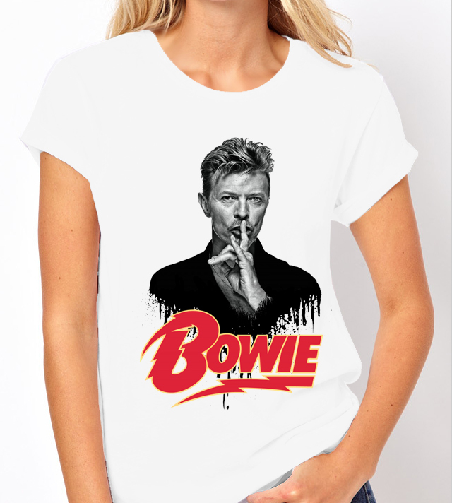 David Bowie Music Legend with Name - Ladies White Tee Shirt