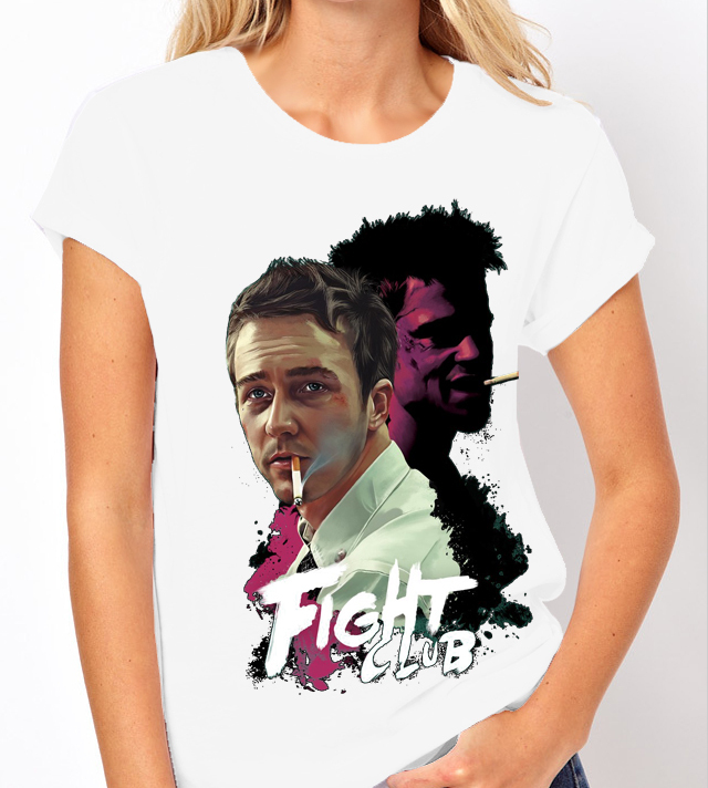 "Classic Movie ""Fight Club"" - Ladies White Tee Shirt"