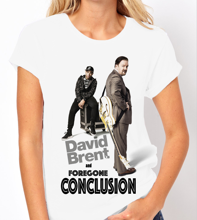 "David Brent ""Foregone Conclusion"" - Ladies White Tee Shirt"