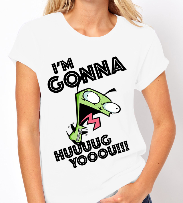Invader Zim: Gir - I'm Gonna Hug You! Nick Toons  - Ladies White Tee Shirt