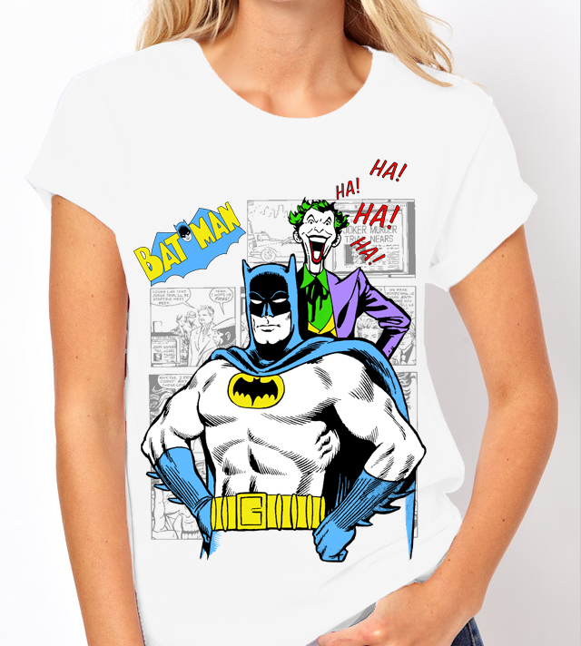 Classic Batman and Joker Comic Book Graphic Novel - Ladies White Tee Shirt