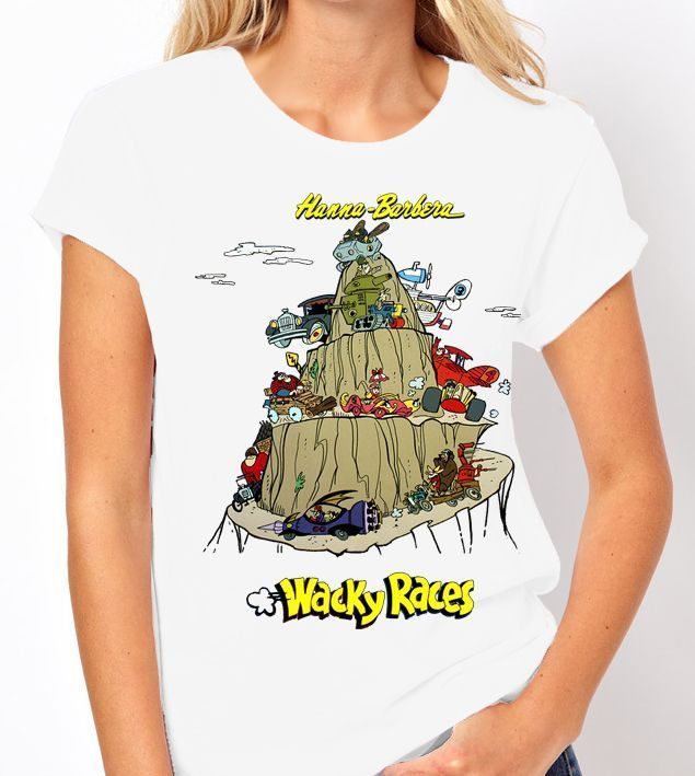 "Hanna Barbera ""Wacky Races"" - Ladies White Tee Shirt"