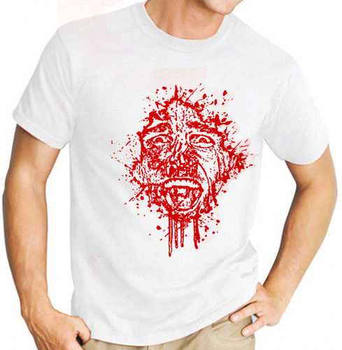 "Classic Movie ""American Psycho"" - Mens White Tee Shirt with Red Print"
