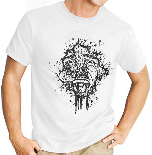 "Classic Movie ""American Psycho"" - Mens White Tee Shirt with Black Print"
