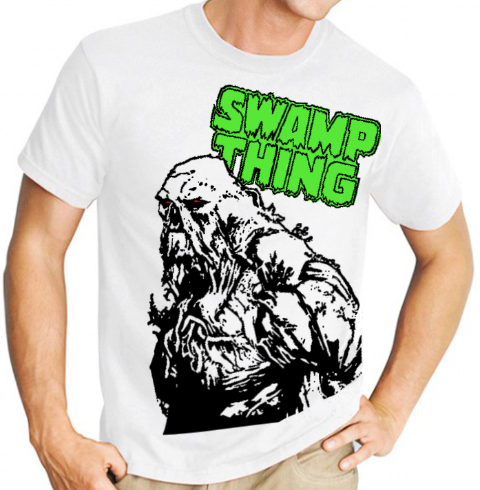 Swamp Thing (DC Comics) - Mens Black Image on White Tee Shirt