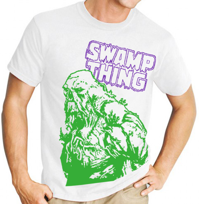 Swamp Thing (DC Comics) - Mens Green Image on White Tee Shirt