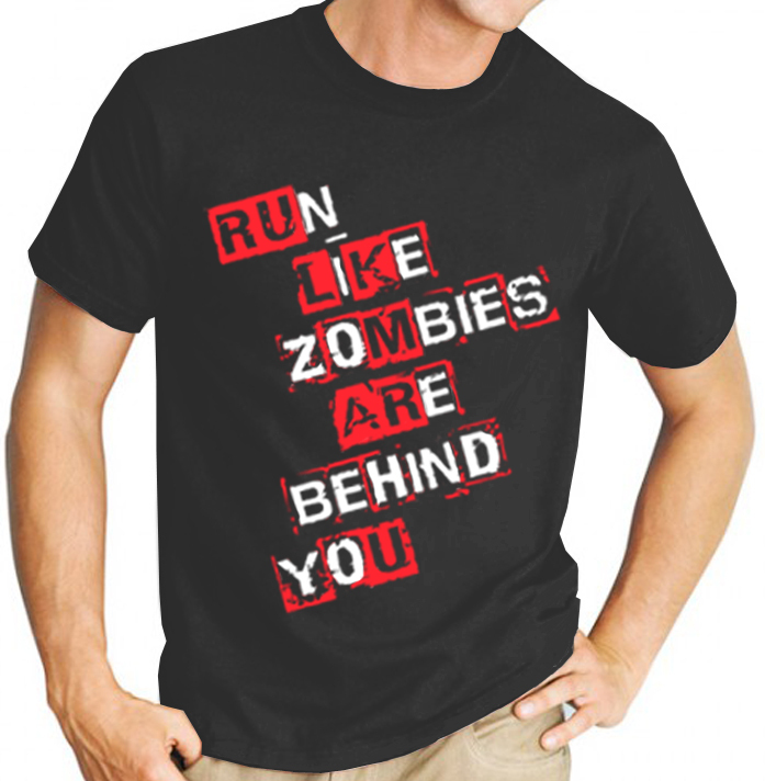 "AMC's The Walking Dead TV Show ""Run Like Zombies are Behind You"" - Mens Black Tee Shirt"