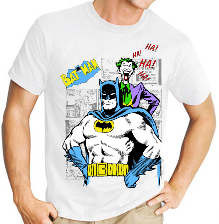 Classic Batman and Joker Comic Book Graphic Novel  - Mens White Tee Shirt