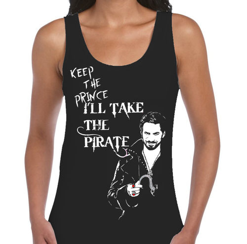 "Once Upon A Time Captain Hook ""Keep the Prince"" - 3 Variations - Ladies Black Vest"