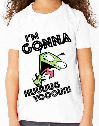 "Invader Zim: Gir  ""I'm Gonna Hug You!"" Nick Toons - Childs White Tee Shirt"