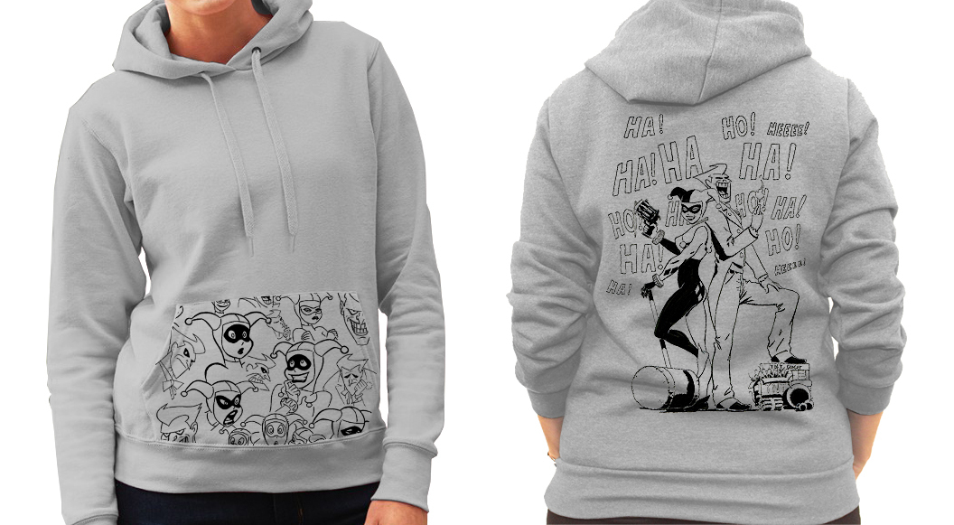 Harley Quinn and Joker (Batman) Concept Art - Ladies Grey Hoodie