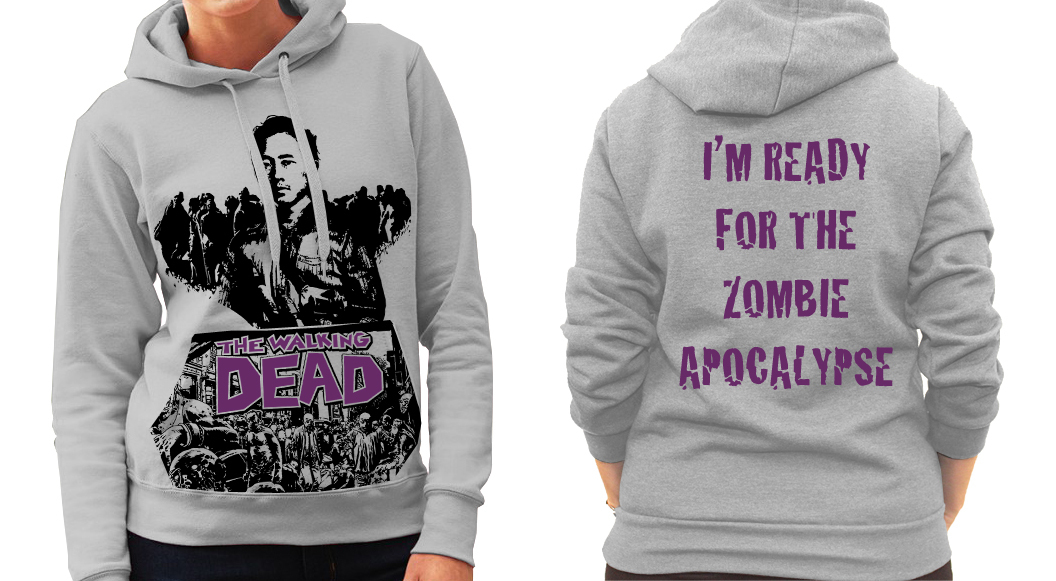 "Walking Dead ""Glen"" Zombie Apocalypse Backed - Ladies Grey Hoodie"