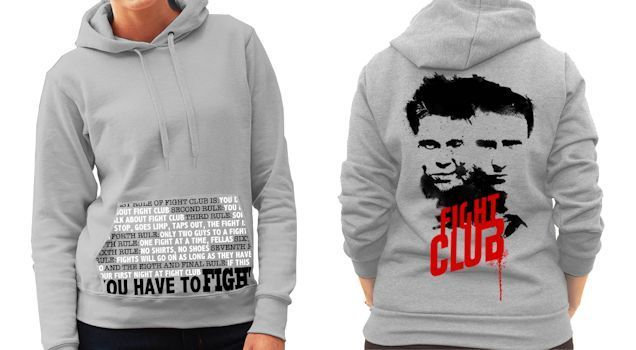 Fight Club (Edward Norton / Brad Pitt) Film - Ladies Grey Hoodie