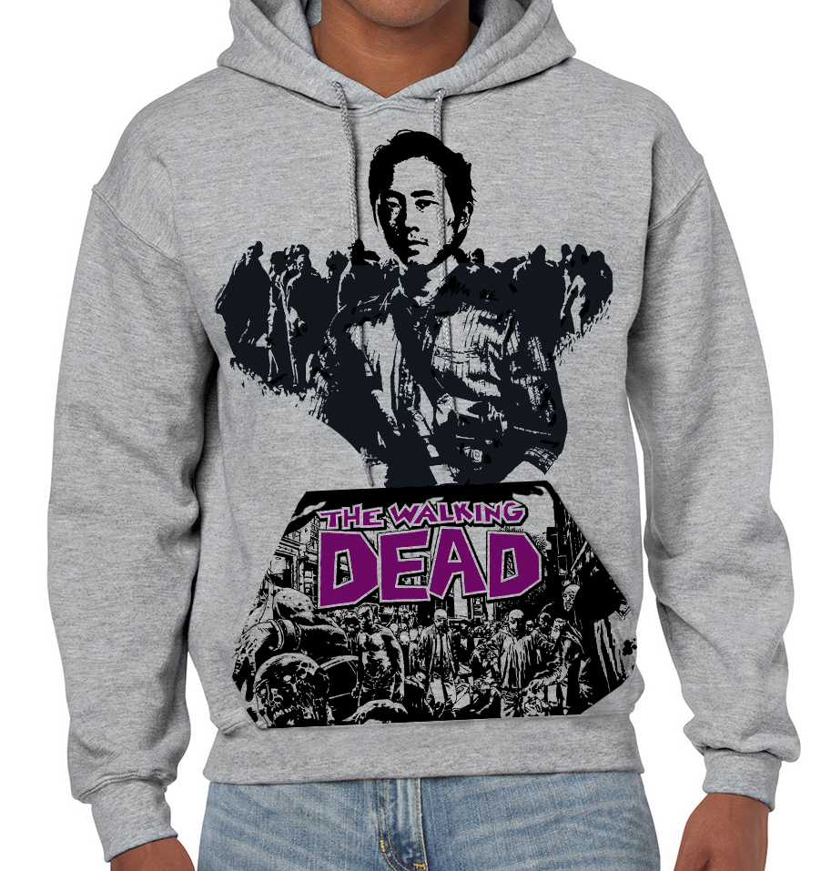 "Walking Dead ""Glen"" Plain Backed - Mens Grey Hoodie"