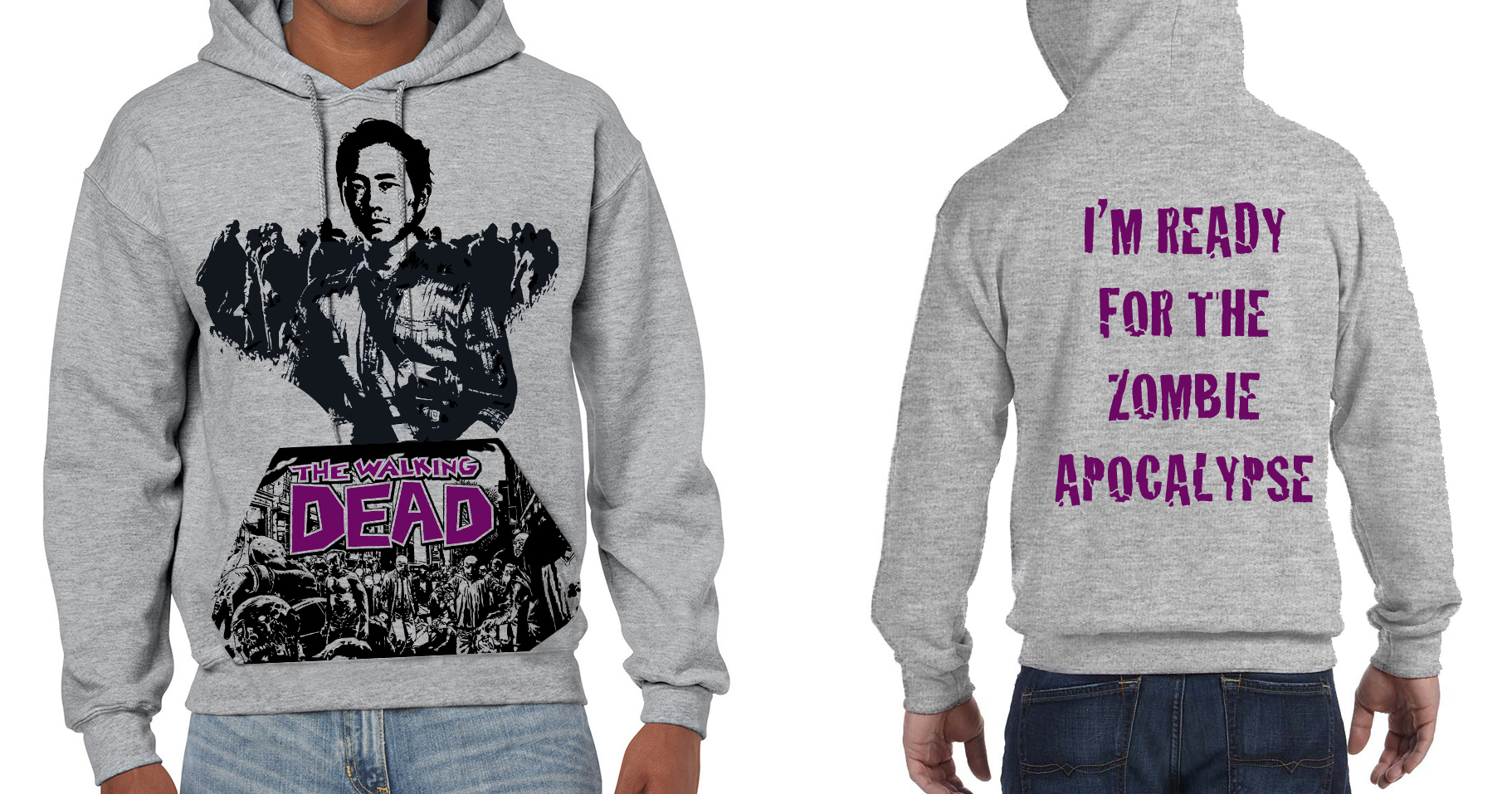 "Walking Dead ""Glen"" Zombie Apocalypse Backed - Mens Grey Hoodie"