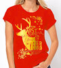 "Christmas Golden Deer ""Most Wonderful Time of the Year"" - 2 Colour Variations - Ladies Tee Shirt"