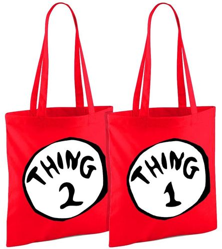 Dr Seuss Thing 1 and 2 Bundle - Both Red Shopper Bags