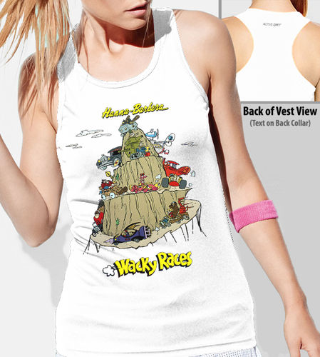 "Hanna Barbera ""Wacky Races"" - Ladies White Vest"