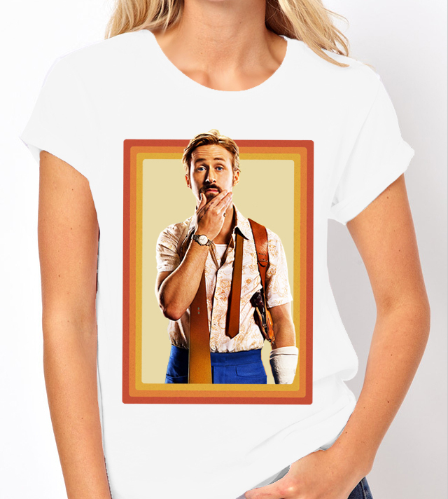 "Ryan Gosling ""Nice Guys"" Movie - Ladies White Tee Shirt"