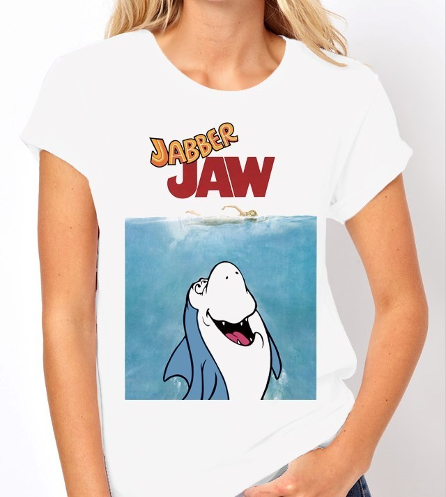 Hanna Barbera Jabber Jaw as Jaws - Ladies White Tee Shirt