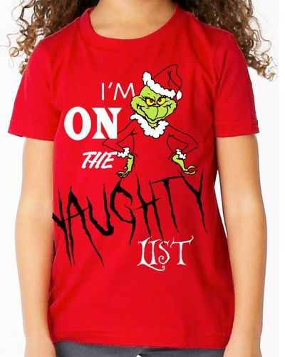 "Christmas Grinch ""I'm on the Naughty List"" - Childs Red Tee Shirt"