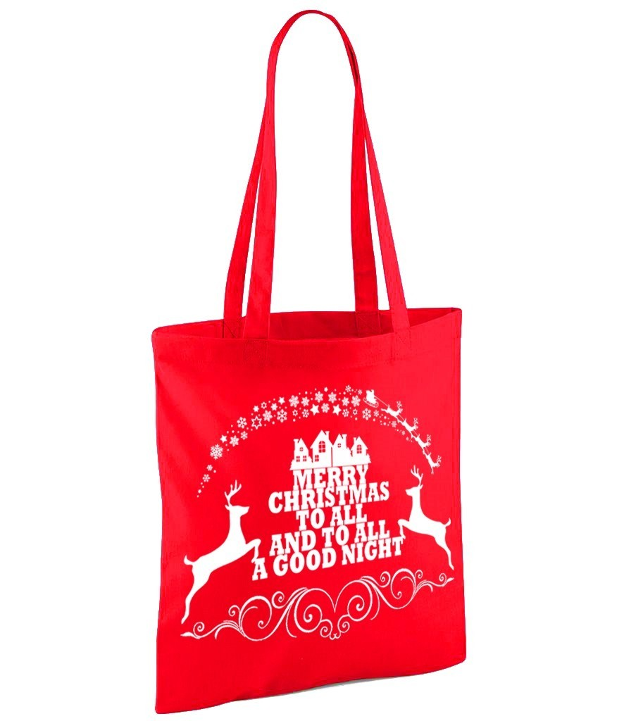 Merry Christmas - 2 Print Colour Variations - Red Shopper Bag