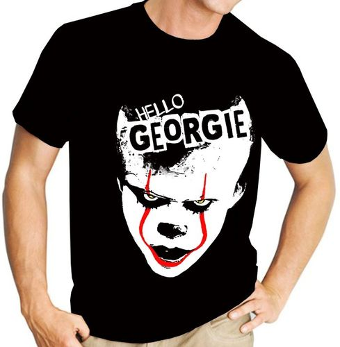 "Pennywise from Stephen King's ""IT"" - Version 1 - Mens Black Tee Shirt"