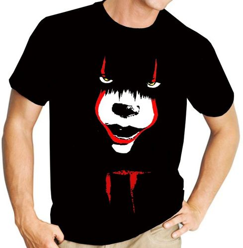 "Pennywise from Stephen King's ""IT"" - Version 2 - Mens Black Tee Shirt"