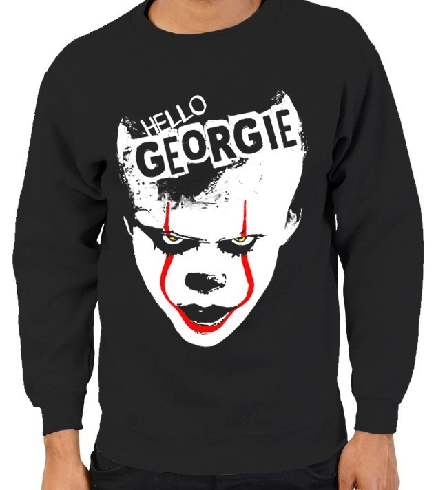 "Pennywise from Stephen King's ""IT"" - Version 1 - Mens Black Sweatshirt"