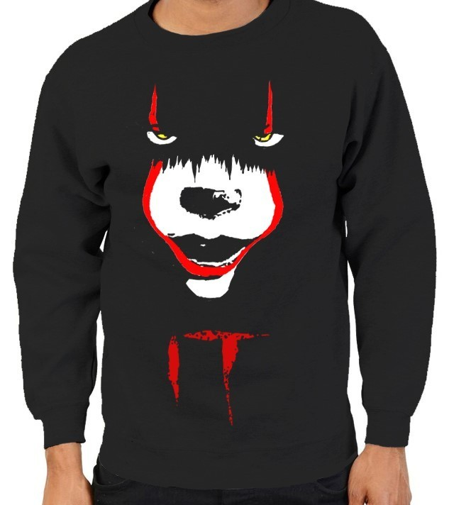"Pennywise from Stephen King's ""IT"" - Version 2 - Mens Black Sweatshirt"