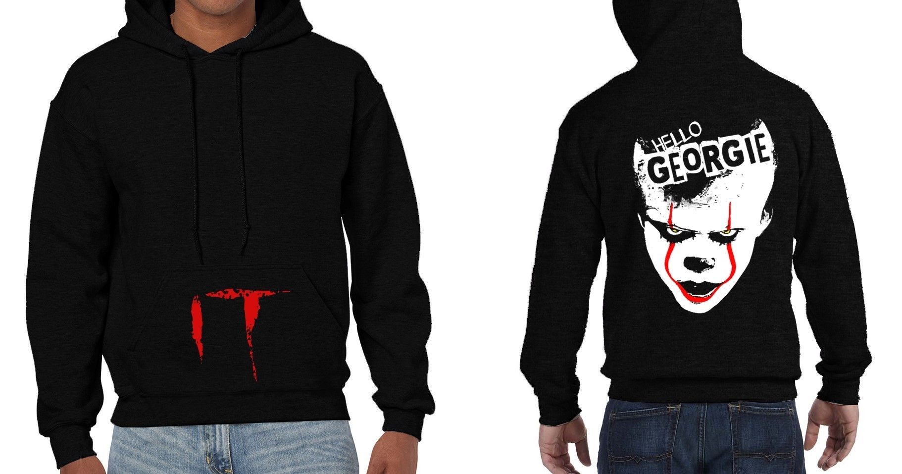 "Pennywise from Stephen King's ""IT"" - Version 1 - Mens Black Hoodie"