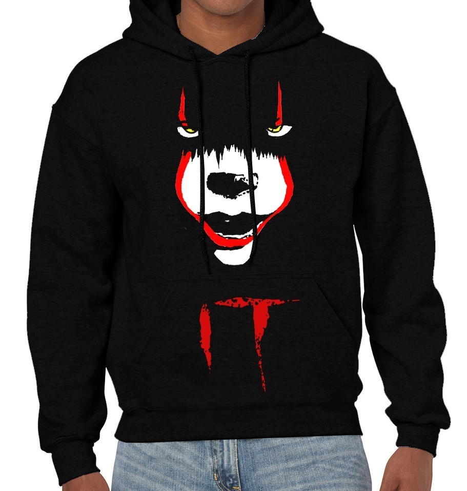 "Pennywise from Stephen King's ""IT"" - Version 2 - Mens Black Hoodie"