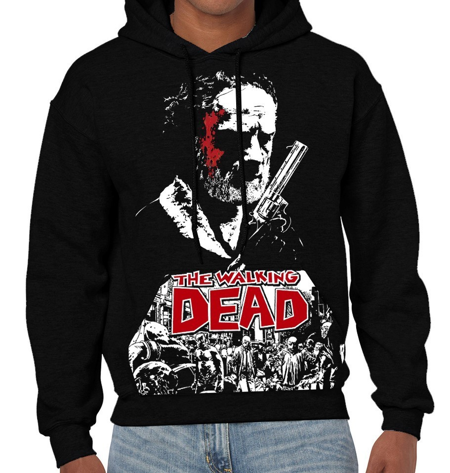 "AMC's The Walking Dead TV Show ""Rick Grimes"" - Mens Black Hoodie"