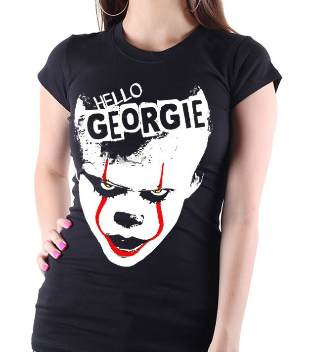 "Pennywise from Stephen King's ""IT"" - Version 1 - Ladies Black Tee Shirt"