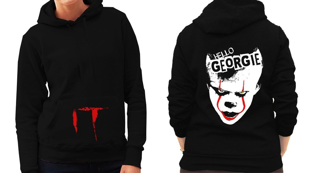 "Pennywise from Stephen King's ""IT"" - Version 1 - Ladies Black Hoodie"