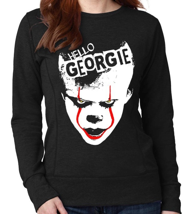 "Pennywise from Stephen King's ""IT"" - Version 1 - Ladies Black Sweatshirt"