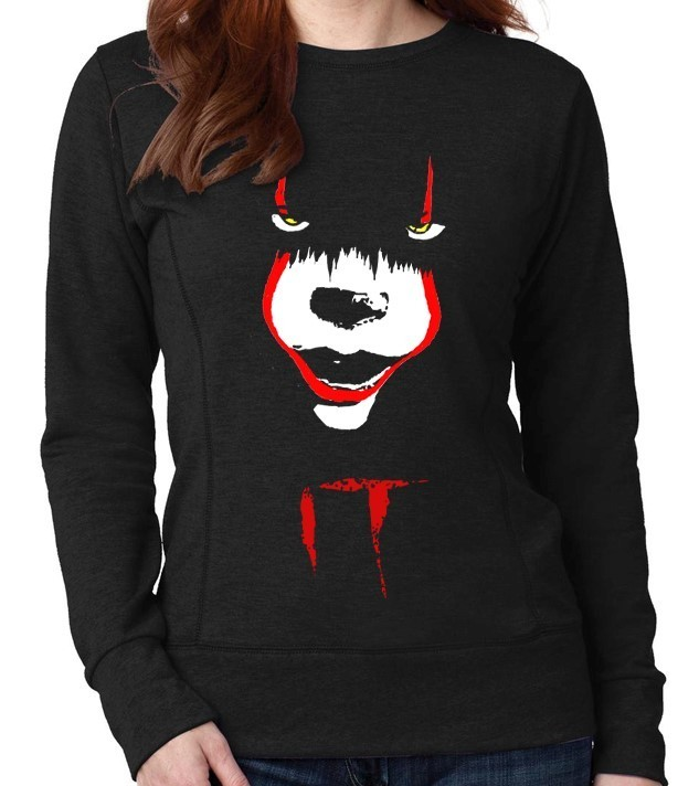 "Pennywise from Stephen King's ""IT"" - Version 2 - Ladies Black Sweatshirt"