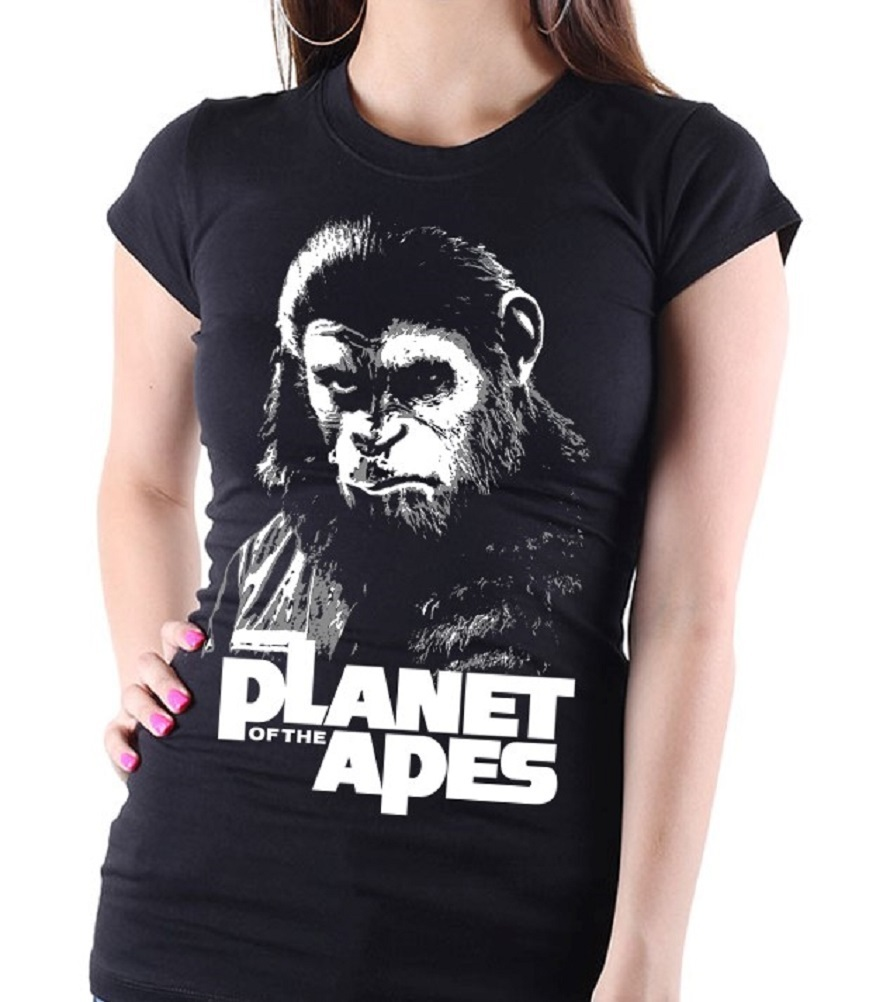 """Planet of the Apes"" Cult Movie - Ladies Black Tee Shirt"