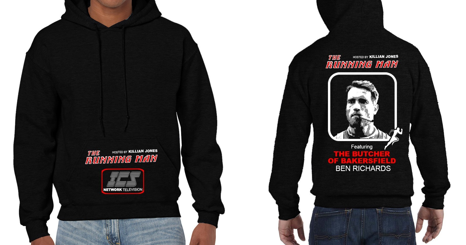 """The Running Man"" Cult Movie (Arnold Schwarzenegger) - Mens Black Hoodie"
