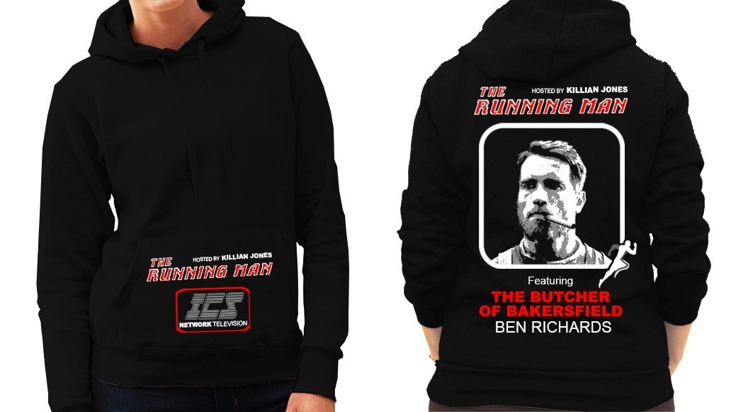 """The Running Man"" Cult Movie (Arnold Schwarzenegger) - Ladies Black Hoodie"