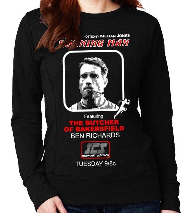"""The Running Man"" Cult Movie (Arnold Schwarzenegger) - Ladies Black Sweatshirt"
